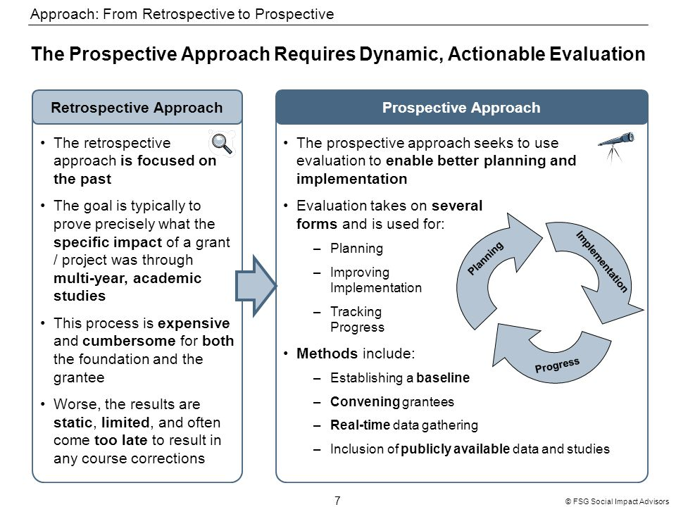 7 © FSG Social Impact Advisors The Prospective Approach Requires Dynamic, Actionable Evaluation Prospective ApproachRetrospective Approach The retrospective approach is focused on the past The goal is typically to prove precisely what the specific impact of a grant / project was through multi-year, academic studies This process is expensive and cumbersome for both the foundation and the grantee Worse, the results are static, limited, and often come too late to result in any course corrections The prospective approach seeks to use evaluation to enable better planning and implementation Evaluation takes on several forms and is used for: –Planning –Improving Implementation –Tracking Progress Methods include: –Establishing a baseline –Convening grantees –Real-time data gathering –Inclusion of publicly available data and studies Planning Implementation Progress Approach: From Retrospective to Prospective