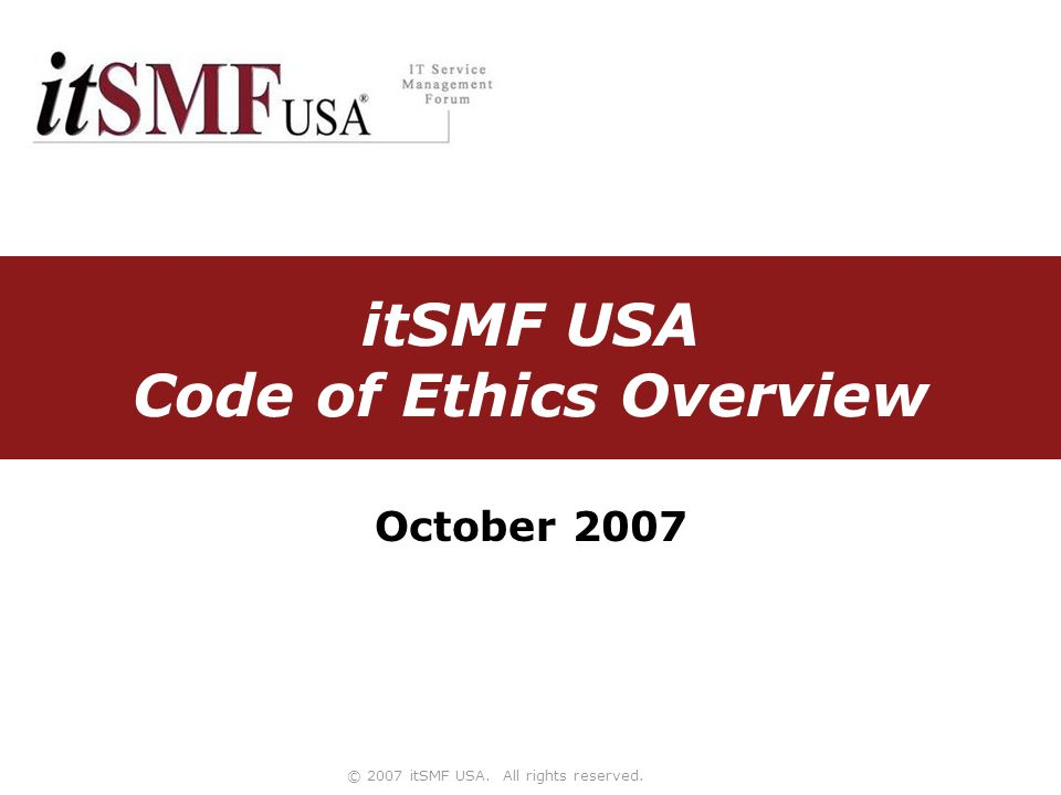 Slide 2 Background The Board of Directors requested the creation of a Code of Ethics for the organization The Governance Committee was chartered with the task Drafts were reviewed with the Board of Directors in April Final version approved by the Board of Directors on June 8