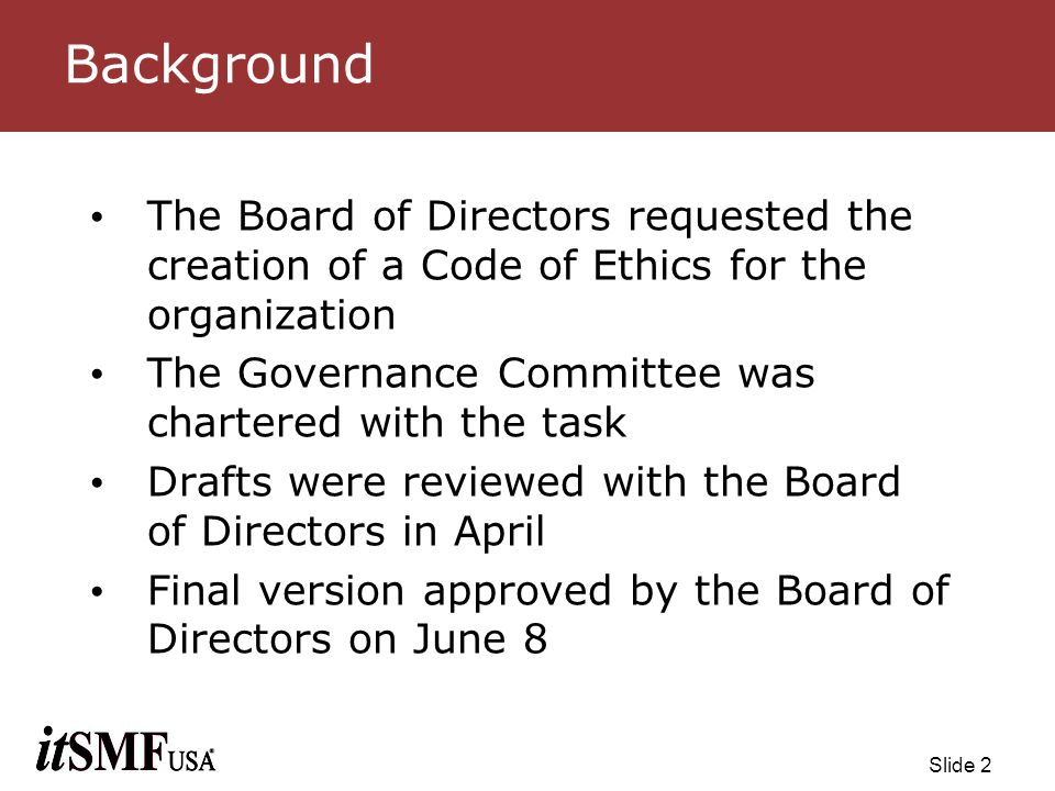 Slide 13 Ethics Review Process Sections Description Goal & Purpose Scope of Authority Potential disciplinary actions General Principles Roles & Responsibilities Overview Process Flow