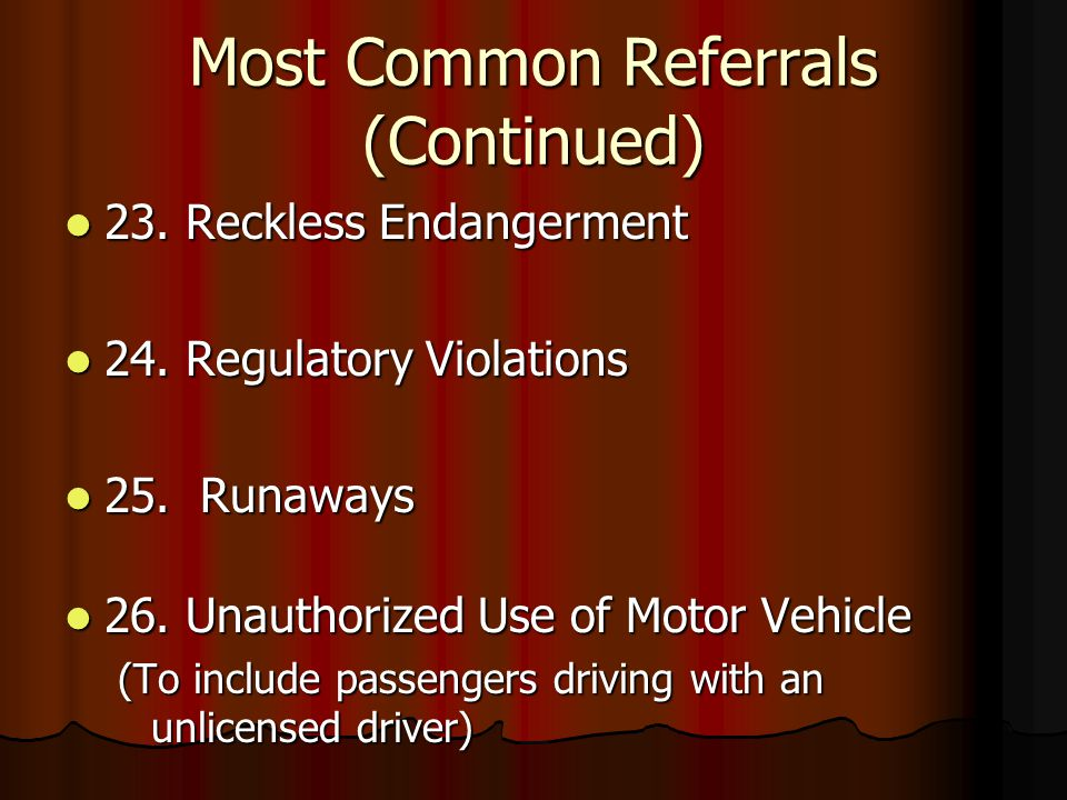 Most Common Referrals (Continued) 23. Reckless Endangerment 23.