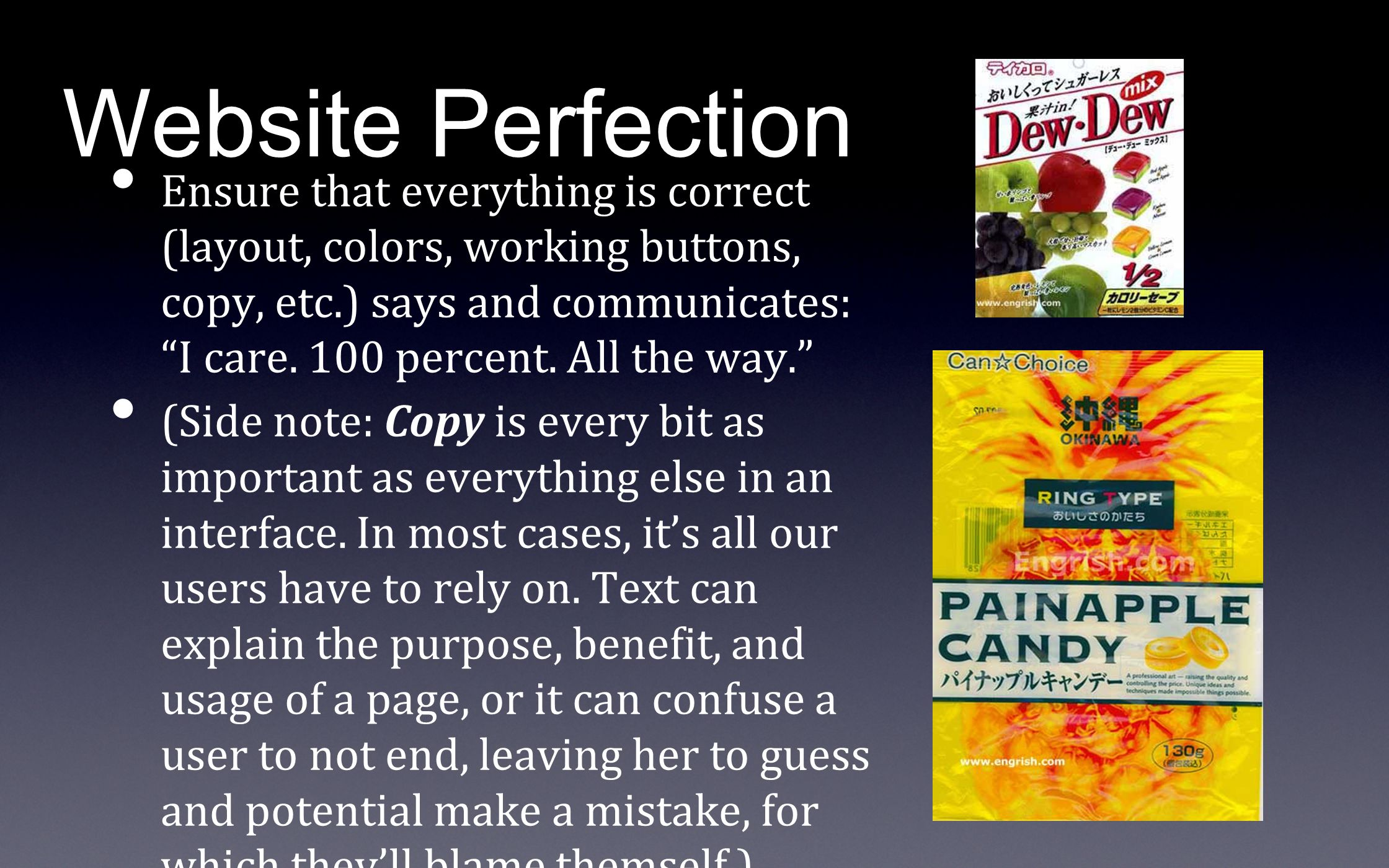 """Website Perfection Ensure that everything is correct (layout, colors, working buttons, copy, etc.) says and communicates: """"I care. 100 percent. All th"""
