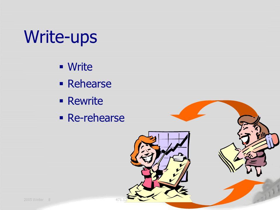 2005 Winter 8471.12 BC Write-ups  Write  Rehearse  Rewrite  Re-rehearse