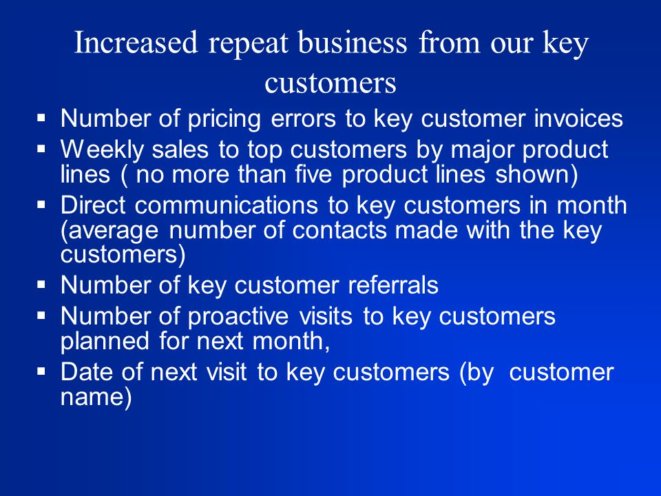 Increased repeat business from our key customers  Number of pricing errors to key customer invoices  Weekly sales to top customers by major product lines ( no more than five product lines shown)  Direct communications to key customers in month (average number of contacts made with the key customers)  Number of key customer referrals  Number of proactive visits to key customers planned for next month,  Date of next visit to key customers (by customer name)