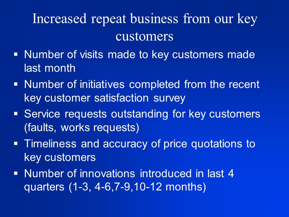Increased repeat business from our key customers  Number of visits made to key customers made last month  Number of initiatives completed from the recent key customer satisfaction survey  Service requests outstanding for key customers (faults, works requests)  Timeliness and accuracy of price quotations to key customers  Number of innovations introduced in last 4 quarters (1-3, 4-6,7-9,10-12 months)