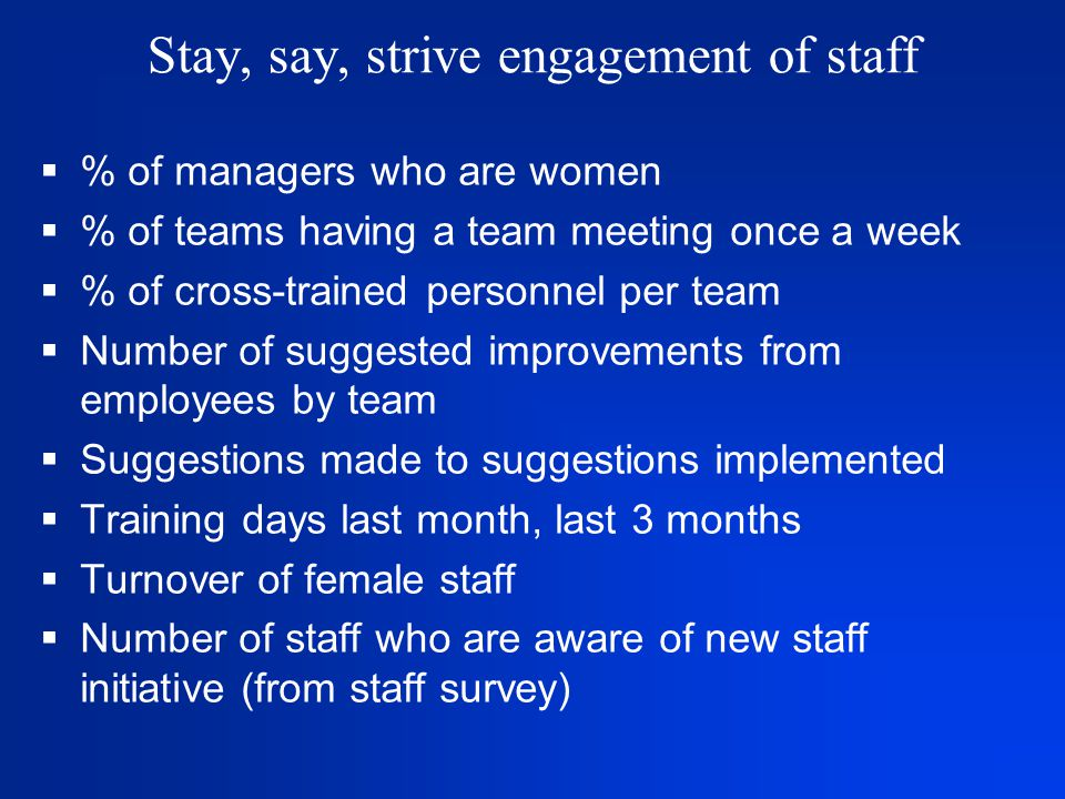 Stay, say, strive engagement of staff  % of managers who are women  % of teams having a team meeting once a week  % of cross-trained personnel per team  Number of suggested improvements from employees by team  Suggestions made to suggestions implemented  Training days last month, last 3 months  Turnover of female staff  Number of staff who are aware of new staff initiative (from staff survey)