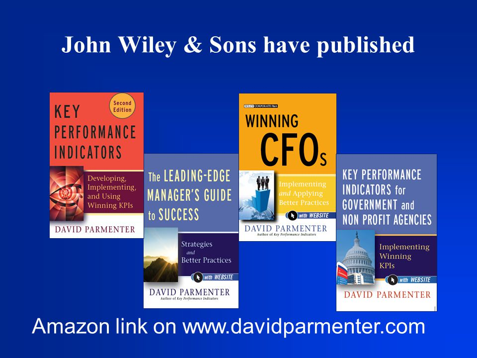 Amazon link on www.davidparmenter.com John Wiley & Sons have published
