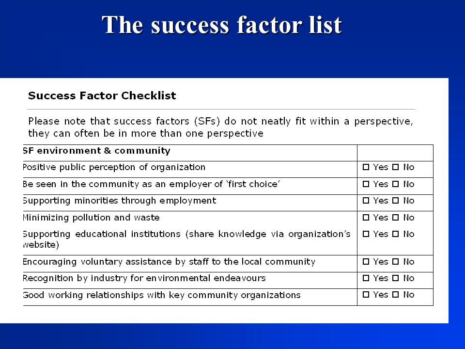 The success factor list