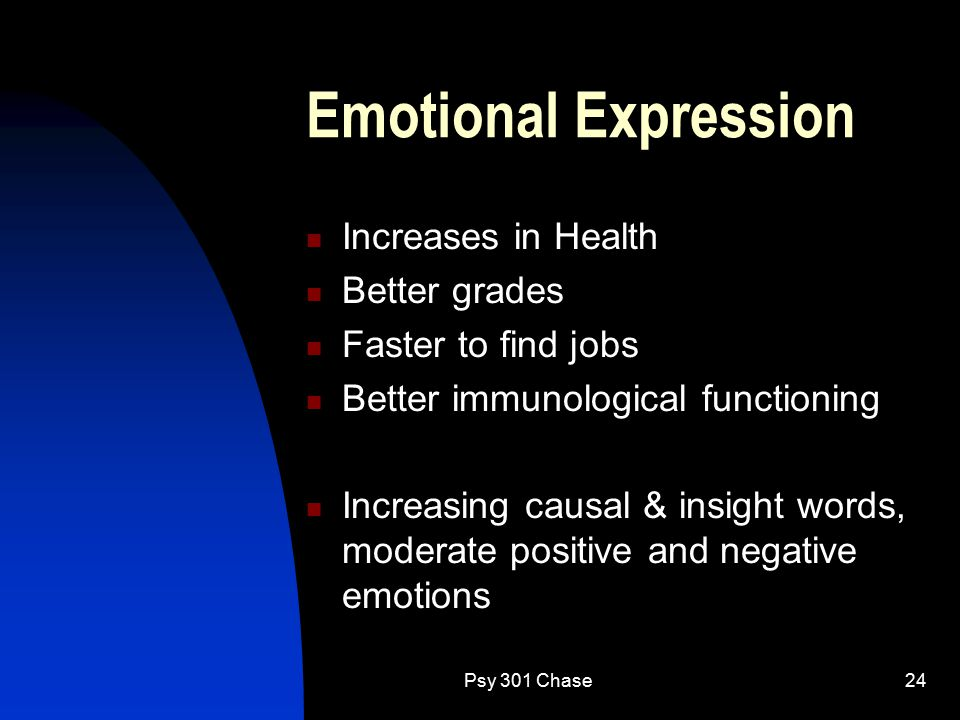Psy 301 Chase24 Emotional Expression Increases in Health Better grades Faster to find jobs Better immunological functioning Increasing causal & insight words, moderate positive and negative emotions