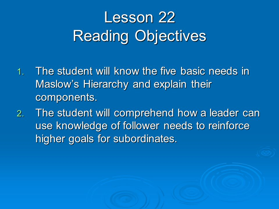Lesson 22 Reading Objectives 1. The student will know the five basic needs in Maslow's Hierarchy and explain their components. 2. The student will com