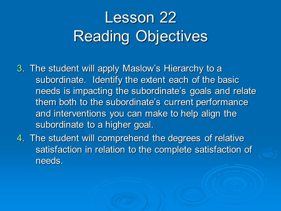Lesson 22 Reading Objectives 3. The student will apply Maslow's Hierarchy to a subordinate.