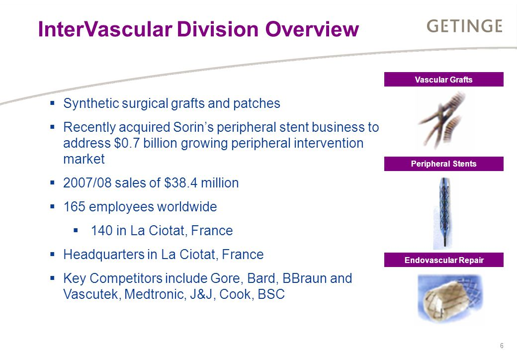 6  Synthetic surgical grafts and patches  Recently acquired Sorin's peripheral stent business to address $0.7 billion growing peripheral intervention market  2007/08 sales of $38.4 million  165 employees worldwide  140 in La Ciotat, France  Headquarters in La Ciotat, France  Key Competitors include Gore, Bard, BBraun and Vascutek, Medtronic, J&J, Cook, BSC Vascular Grafts Peripheral Stents Endovascular Repair InterVascular Division Overview