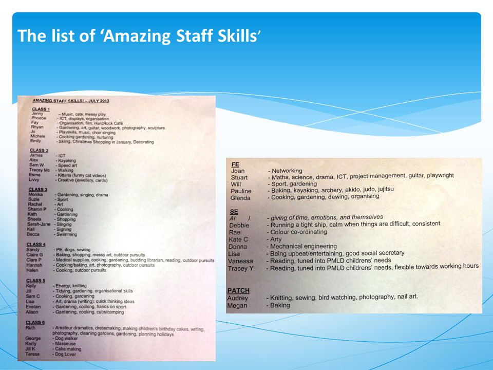 The list of 'Amazing Staff Skills '