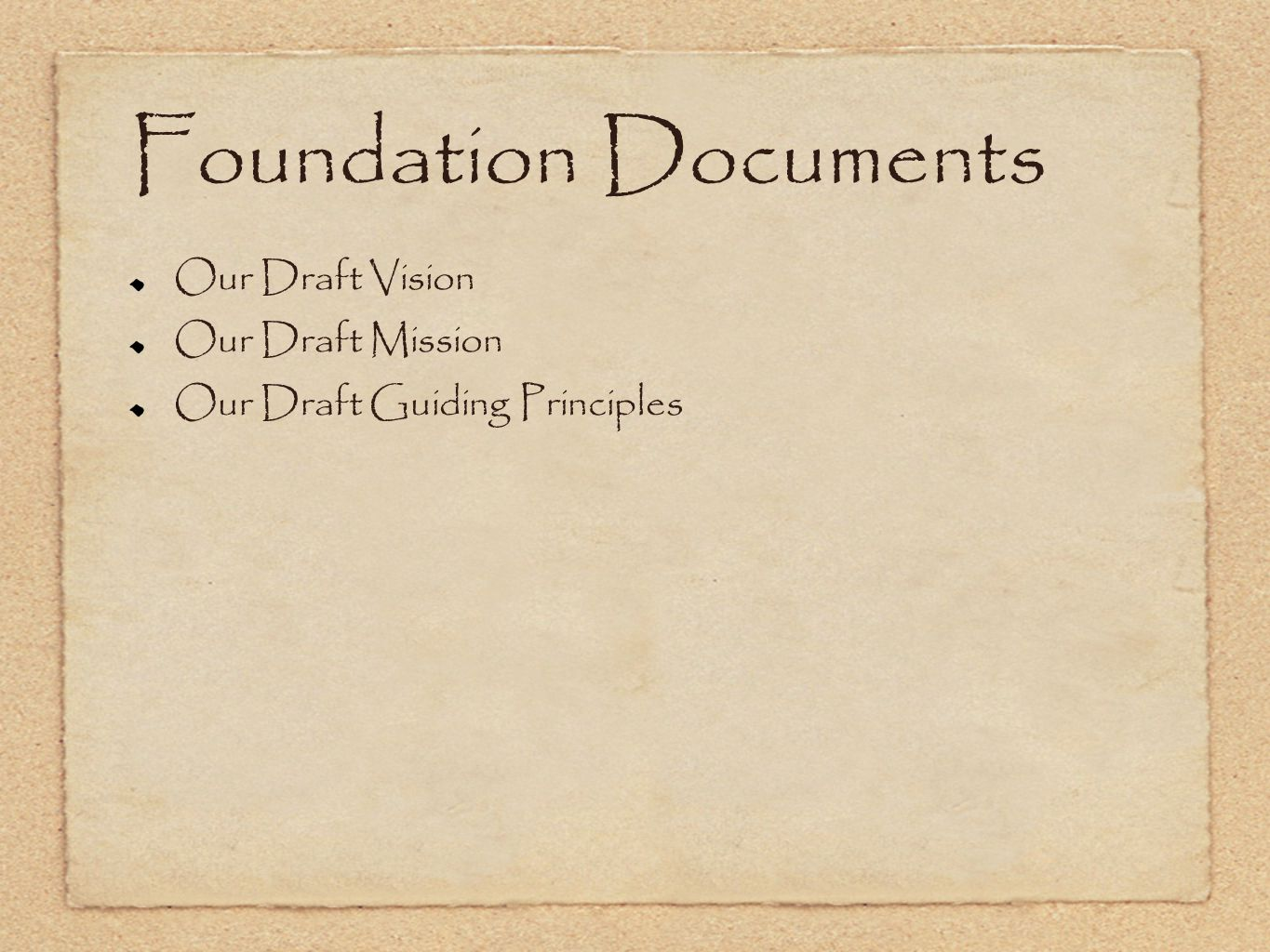 Foundation Documents Our Draft Vision Our Draft Mission Our Draft Guiding Principles