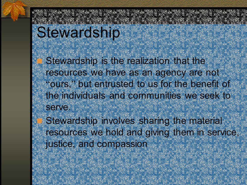 Interwoven into our provision of services and our life as an agency, are three basic practices that represent these values: Practice of compassion and justice Commitment to excellence in service delivery and organizational management Commitment to stewardship of resources