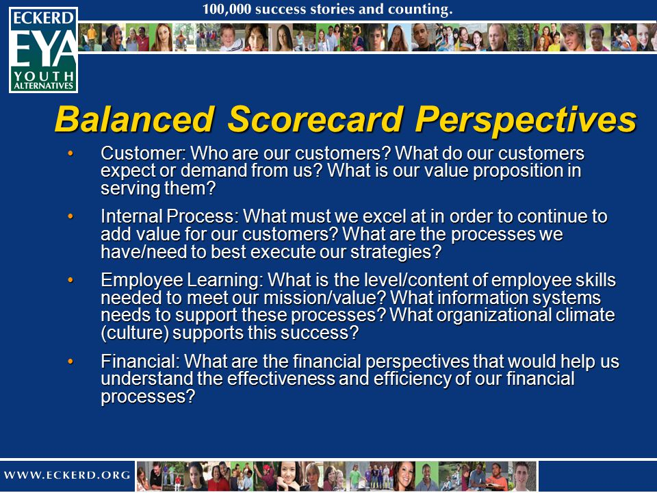 Balanced Scorecard Perspectives Customer: Who are our customers.
