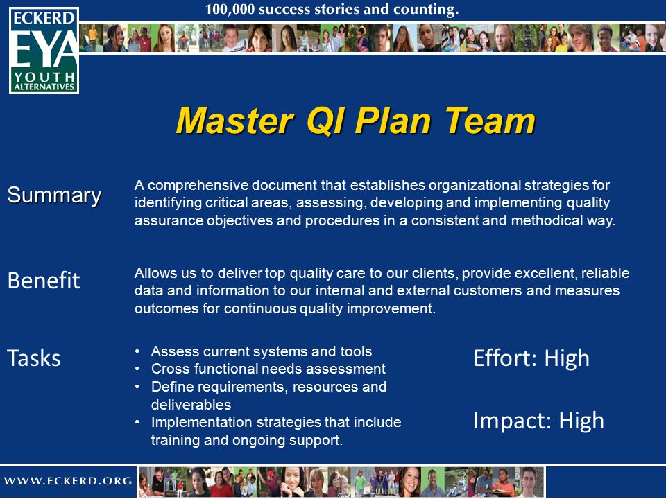 Master QI Plan Team Summary Benefit Effort: High Impact: High A comprehensive document that establishes organizational strategies for identifying critical areas, assessing, developing and implementing quality assurance objectives and procedures in a consistent and methodical way.