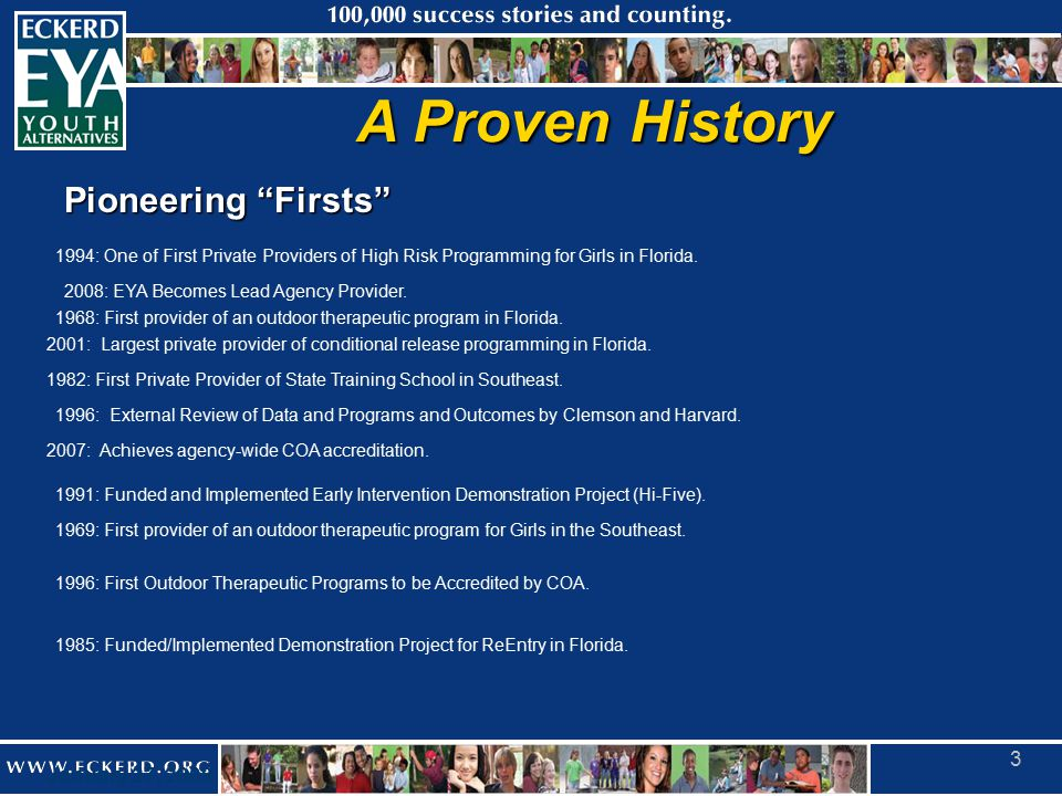 January 27, 2009 3 A Proven History Pioneering Firsts 1968: First provider of an outdoor therapeutic program in Florida.