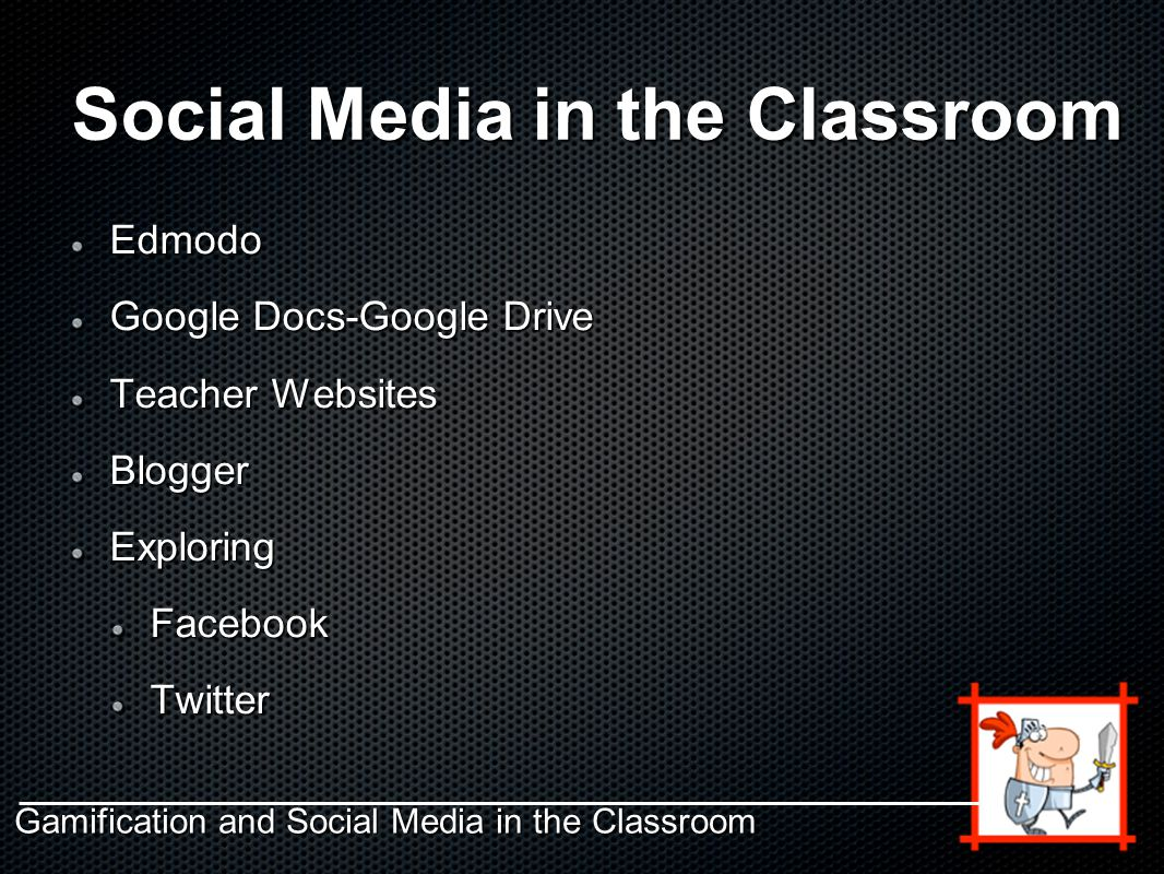 Social Media in the Classroom Edmodo Google Docs-Google Drive Teacher Websites BloggerExploringFacebookTwitter Gamification and Social Media in the Classroom