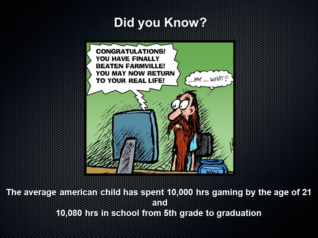 The average american child has spent 10,000 hrs gaming by the age of 21 and and 10,080 hrs in school from 5th grade to graduation Did you Know