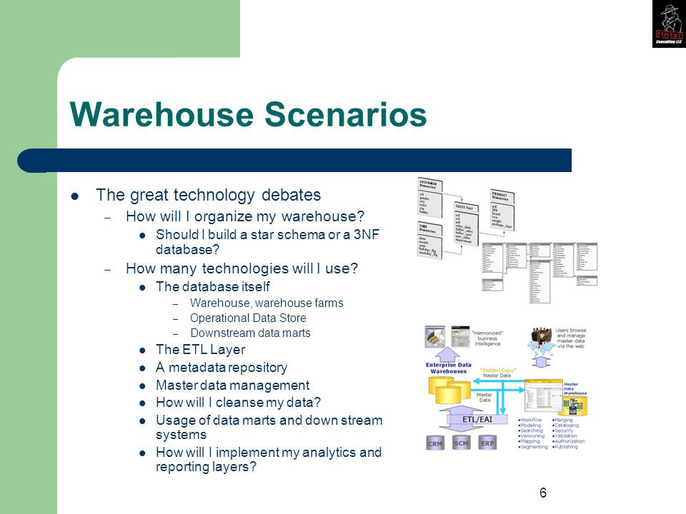 6 Warehouse Scenarios The great technology debates – How will I organize my warehouse.