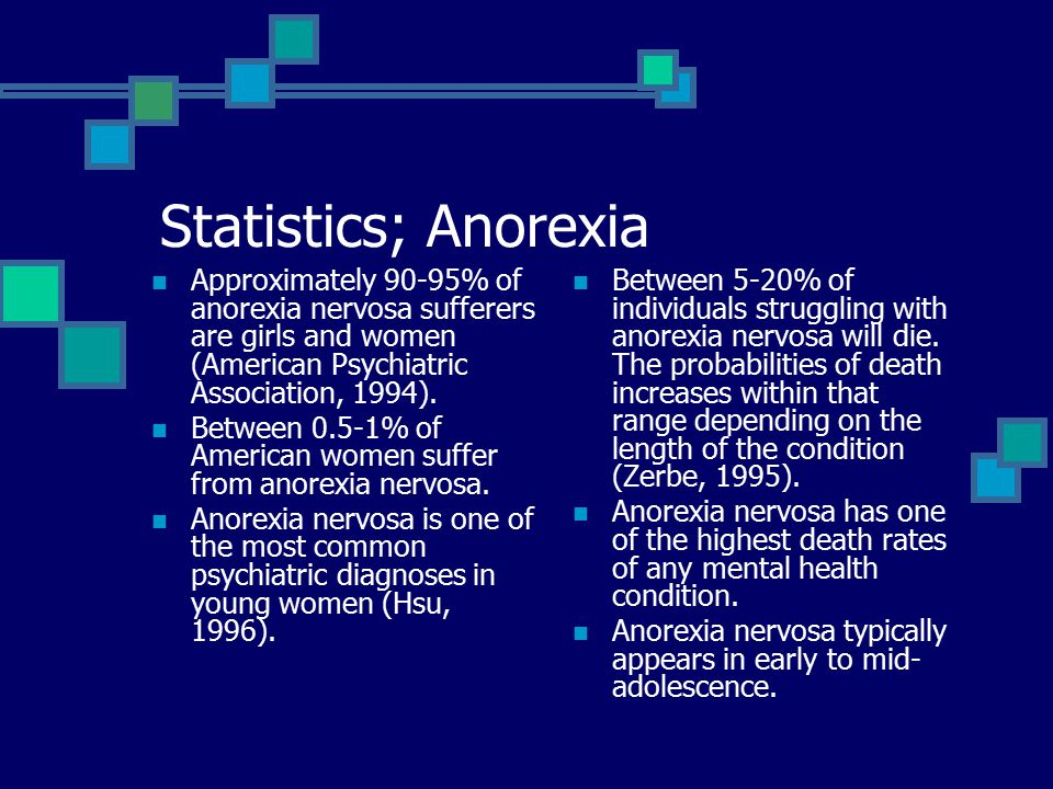 Statistics; Anorexia Approximately 90-95% of anorexia nervosa sufferers are girls and women (American Psychiatric Association, 1994).