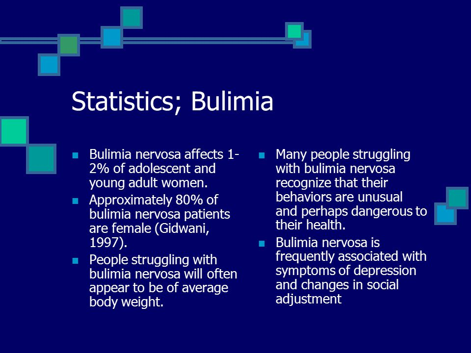 Statistics; Bulimia Bulimia nervosa affects 1- 2% of adolescent and young adult women.