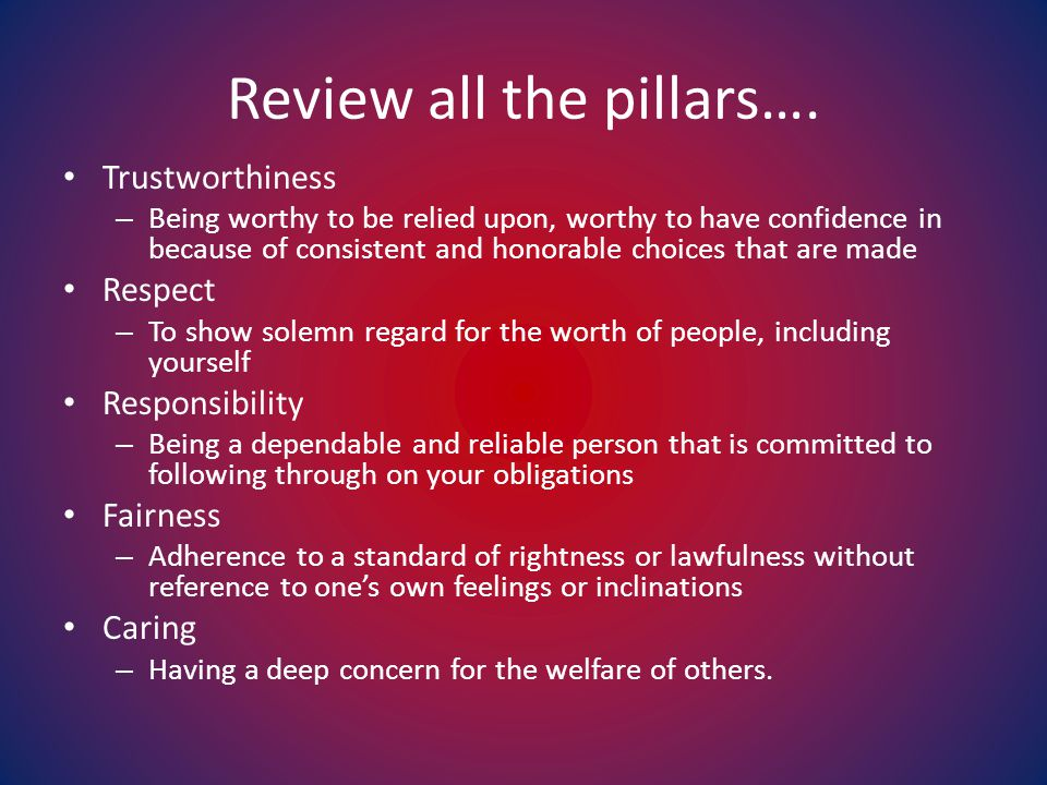 Review all the pillars….