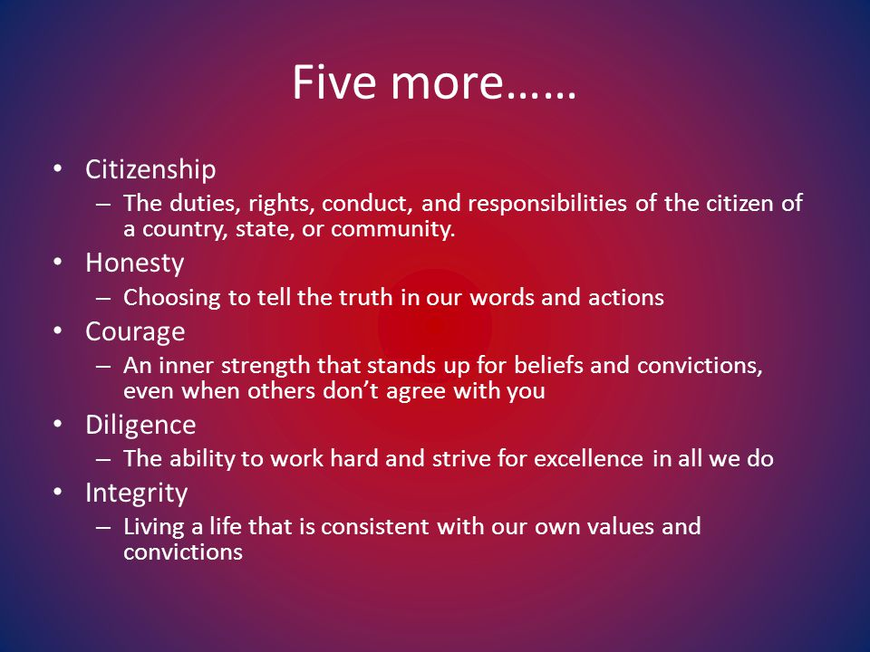 Five more…… Citizenship – The duties, rights, conduct, and responsibilities of the citizen of a country, state, or community.
