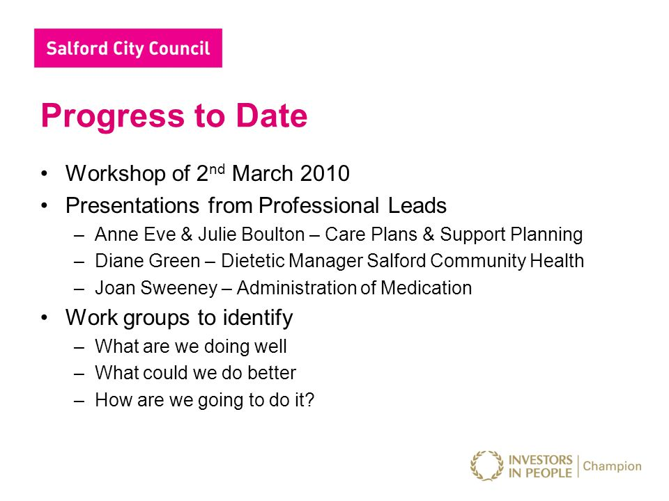 Progress to Date Workshop of 2 nd March 2010 Presentations from Professional Leads –Anne Eve & Julie Boulton – Care Plans & Support Planning –Diane Gr
