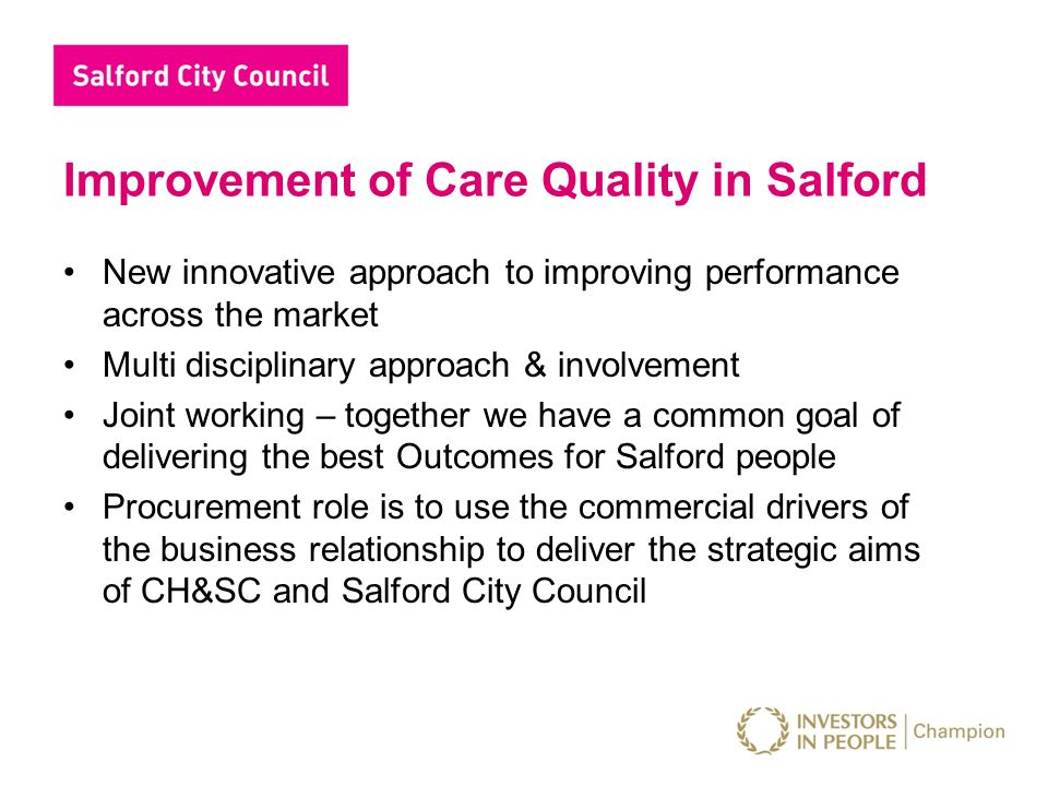 Engagement and Delivery Initiative is a starting point to review and improve the services offered, specifically in terms of Care Planning, Nutrition & Medication We all know that performance improvements are about ownership, leadership and management Engagement is the key to understanding & agreeing common aims & strategic objectives