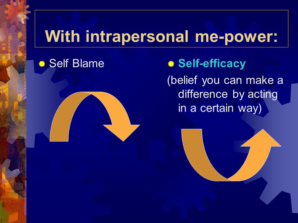 With intrapersonal me-power:  Self Blame  Self-efficacy (belief you can make a difference by acting in a certain way)