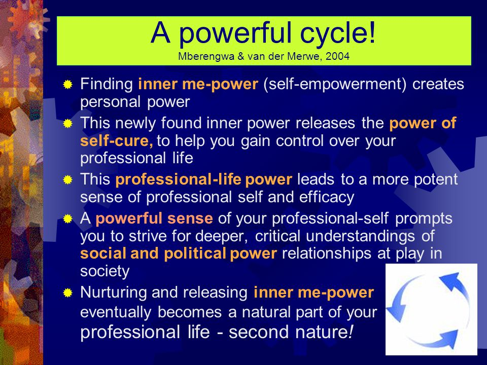 Defining EMPOWER  Power is Latin for to be able  Adding the prefix em (Latin for in) gives us empower, which means to gain an ability, the means to do, or an opportunity to do (to invest with being able)  Empowerment refers to increasing the spiritual, political, economic and/or social strength of people; it involves people developing confidence in their own capacities