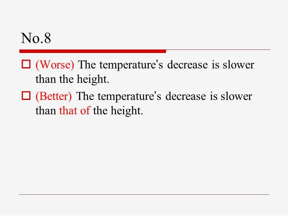 No.8  (Worse) The temperature ' s decrease is slower than the height.  (Better) The temperature ' s decrease is slower than that of the height.