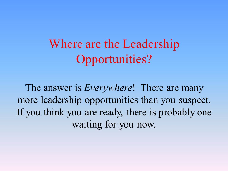 Where are the Leadership Opportunities. The answer is Everywhere.