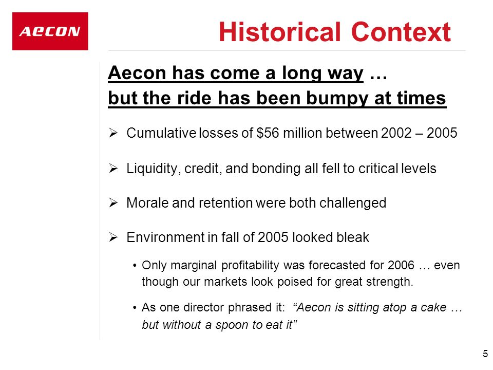 5 Aecon has come a long way … but the ride has been bumpy at times  Cumulative losses of $56 million between 2002 – 2005  Liquidity, credit, and bonding all fell to critical levels  Morale and retention were both challenged  Environment in fall of 2005 looked bleak Only marginal profitability was forecasted for 2006 … even though our markets look poised for great strength.