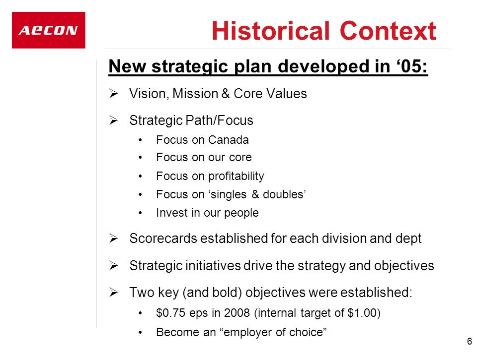 6 New strategic plan developed in '05:  Vision, Mission & Core Values  Strategic Path/Focus Focus on Canada Focus on our core Focus on profitability Focus on 'singles & doubles' Invest in our people  Scorecards established for each division and dept  Strategic initiatives drive the strategy and objectives  Two key (and bold) objectives were established: $0.75 eps in 2008 (internal target of $1.00) Become an employer of choice Historical Context