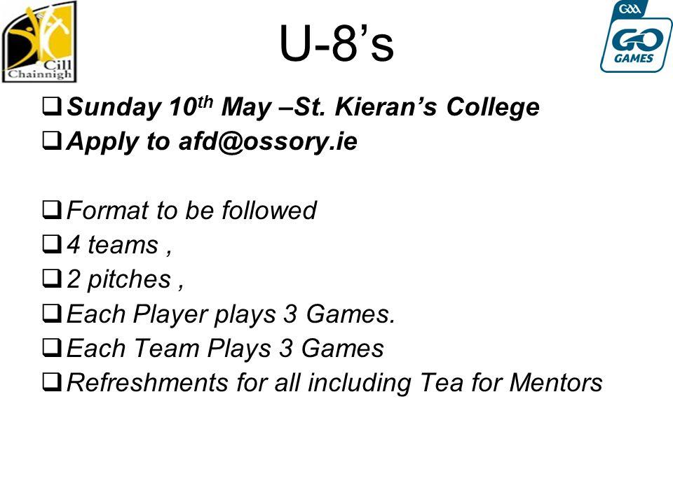 U-8's  Sunday 10 th May –St.