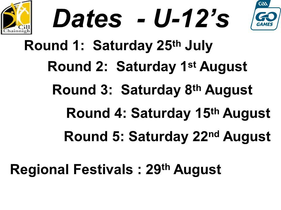 Dates - U-12's Round 1: Saturday 25 th July Round 2: Saturday 1 st August Round 4: Sat 13th August Round 3: Saturday 8 th August Round 4: Saturday 15 th August Regional Festivals : 29 th August Round 5: Saturday 22 nd August