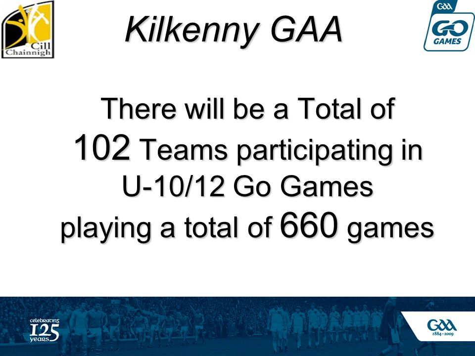Kilkenny GAA Kilkenny GAA There will be a Total of 102 Teams participating in U-10/12 Go Games playing a total of 660 games