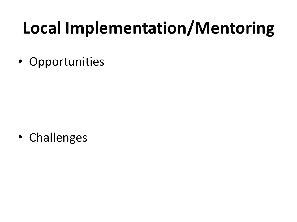 Local Implementation/Mentoring Opportunities Challenges