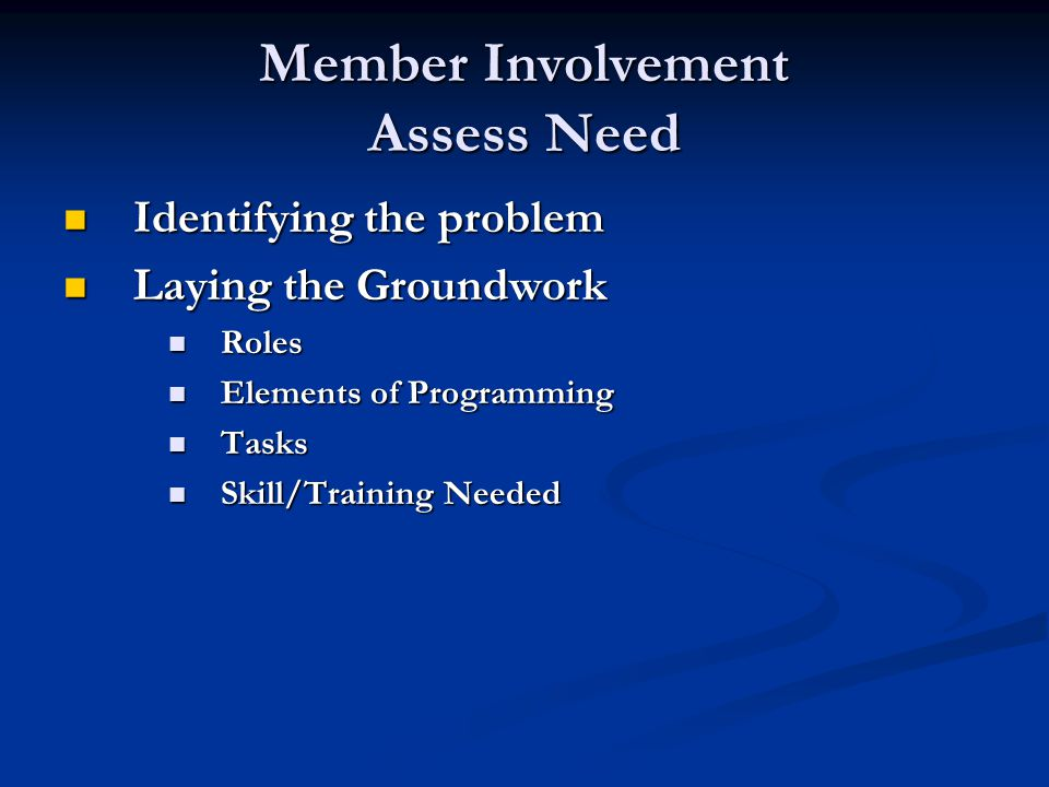 Member Involvement Levels of Involvement Levels of Involvement Levels of Involvement Level 1 Level 1 Level 2 Level 2 Level 3 Level 3 Strive for quick success with new members by quickly assigning level 1 tasks.