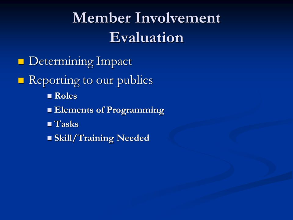 Member Involvement Develop Educational Plan Targeting Audiences Targeting Audiences Setting Goals Setting Goals Implementing Learning Experiences Implementing Learning Experiences Roles Roles Elements of Programming Elements of Programming Tasks Tasks Skill/Training Needed Skill/Training Needed