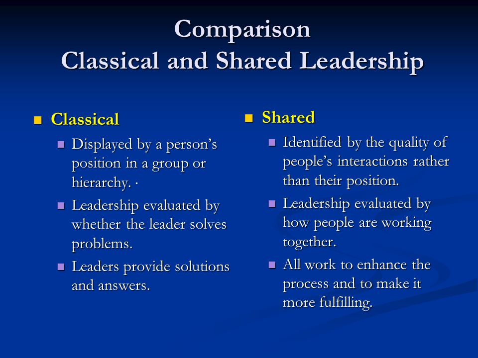 Shared Leadership Shared Leadership A group functions more effectively when all its members accept responsibility for the work and life of the group..