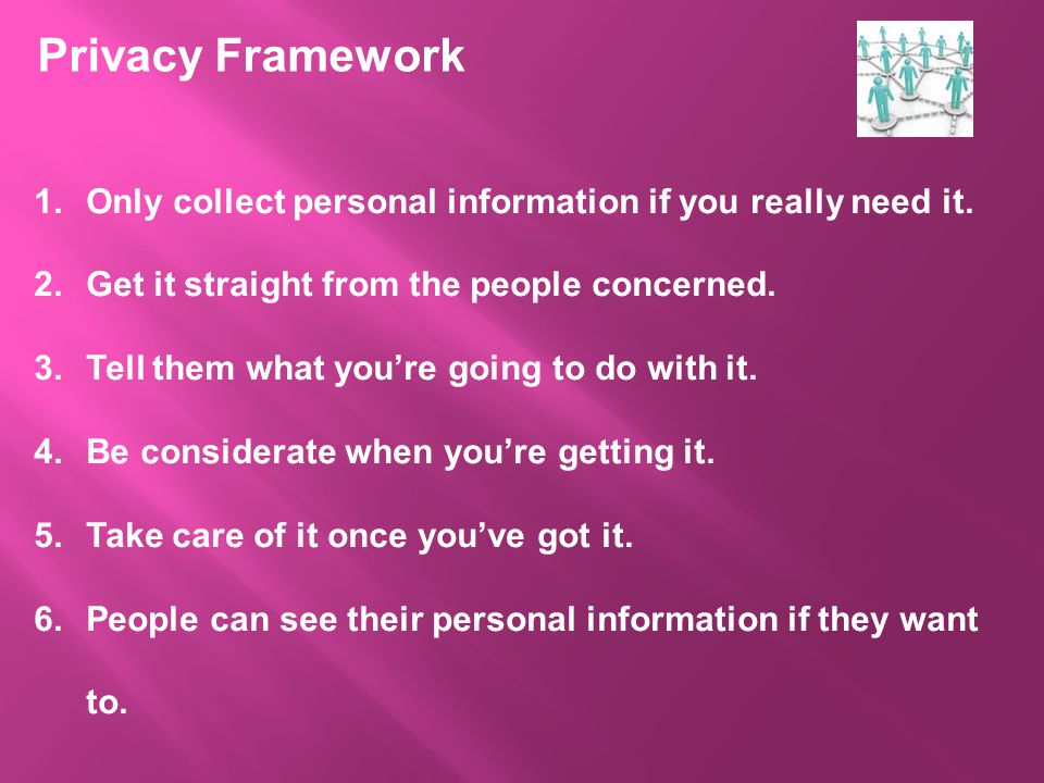 Privacy Framework 1.Only collect personal information if you really need it.
