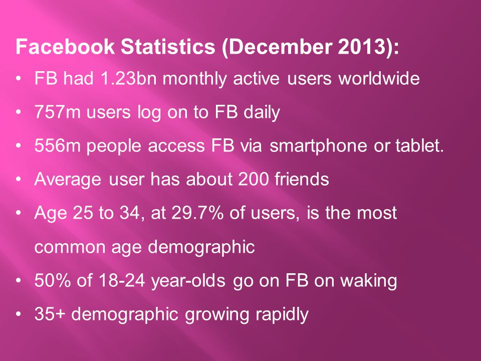 Facebook Statistics (December 2013): FB had 1.23bn monthly active users worldwide 757m users log on to FB daily 556m people access FB via smartphone or tablet.