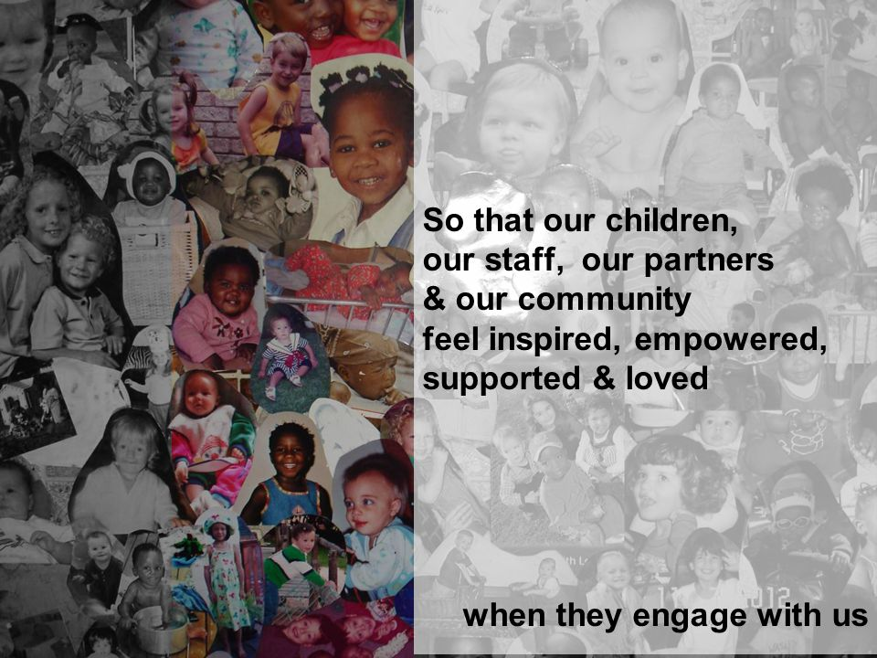 So that our children, our staff, our partners & our community feel inspired, empowered, supported & loved when they engage with us