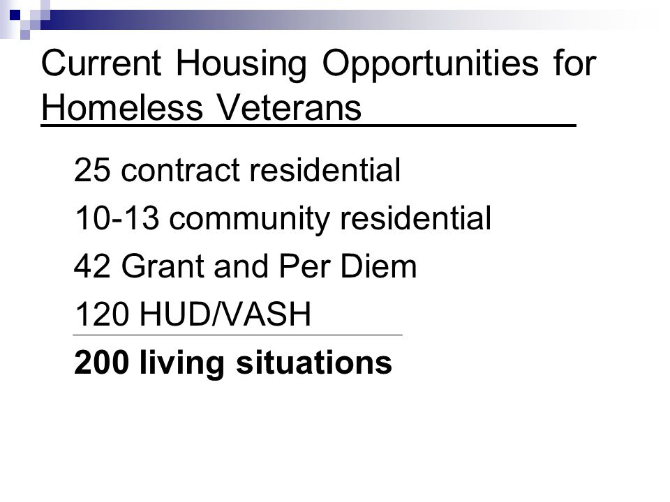 Current Housing Opportunities for Homeless Veterans 25 contract residential 10-13 community residential 42 Grant and Per Diem 120 HUD/VASH 200 living situations