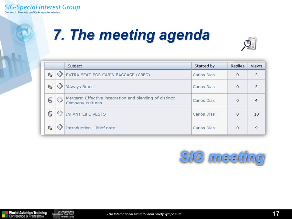 7. The meeting agenda 17 SIG meeting