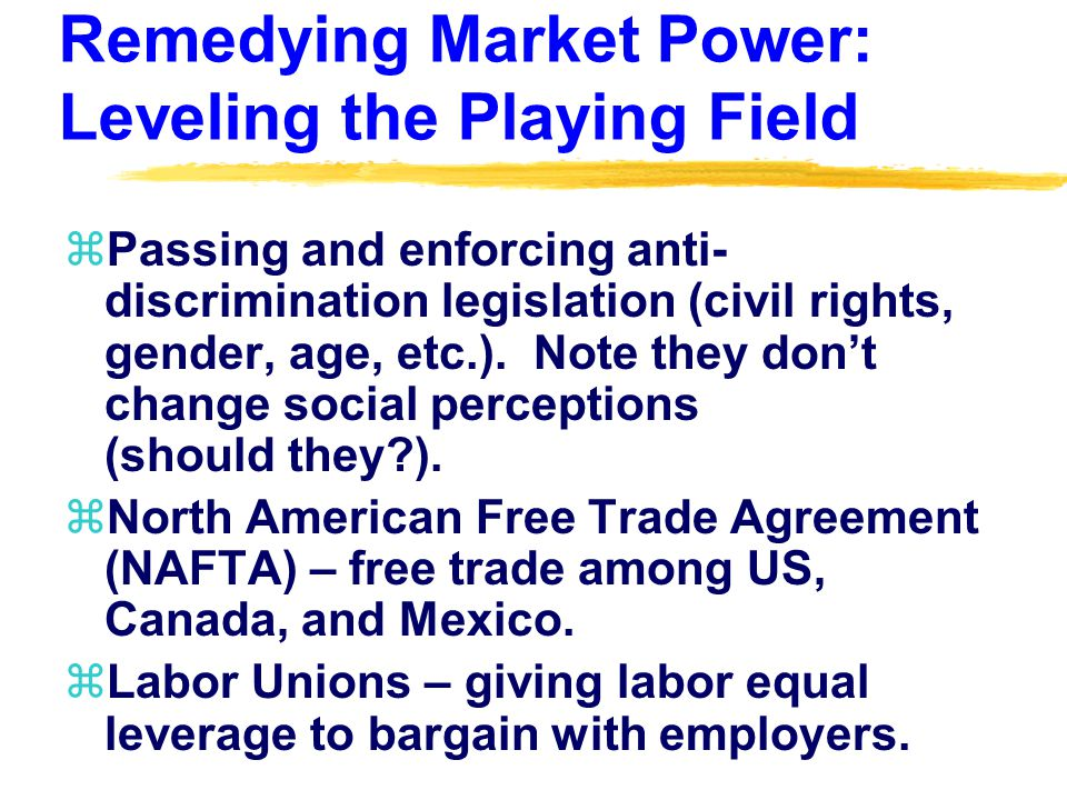 Remedying Market Power: Leveling the Playing Field zPassing and enforcing anti- discrimination legislation (civil rights, gender, age, etc.).