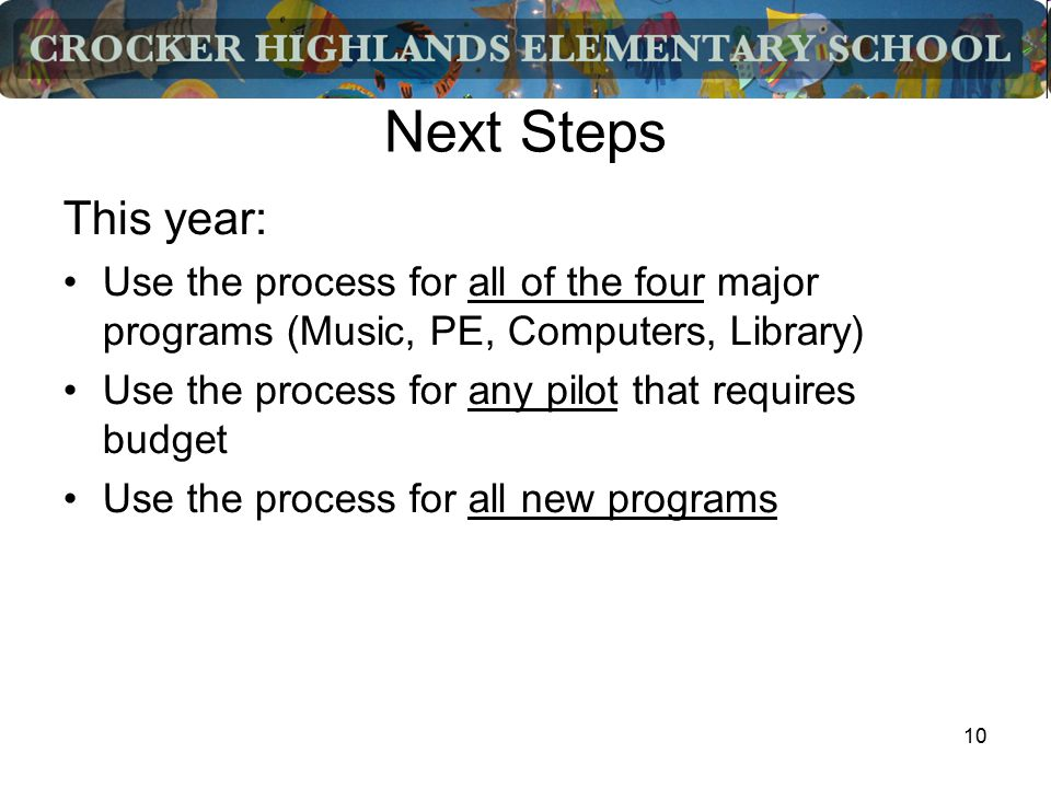 10 Next Steps This year: Use the process for all of the four major programs (Music, PE, Computers, Library) Use the process for any pilot that requires budget Use the process for all new programs